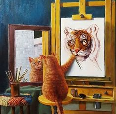 Draw Cats Cat Tiger Diamond Embroidery Painting Cross Stitch Home Decor DIY Craft Kit - Cat Tiger, Dog Cat, Tiger Art, Animals And Pets, Funny Animals, Cute Animals, Gatos Cool, Image Chat, Tier Fotos