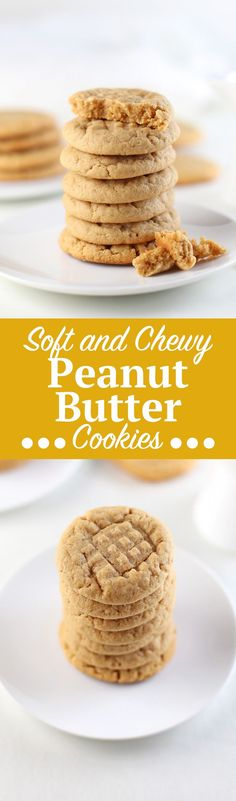 Soft and Chewy Peanut Butter Cookies. Super easy, soft and peanut buttery, peanut butter cookie recipe. This quick cookie recipe takes only 10 minutes to bake and just two mixing bowls! Great if you'r (Favorite Desserts Recipes)