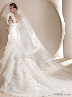 Trumpet Mermaid One Shoulder Chapel Train Organza Wedding Dress with Ruffles 6765cb07d58d