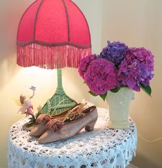 Summer Hydrangeas, Edwardian shoes/ vintage lamp