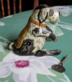 Vintage Marx 1930's Flipo See Me Jump The Jumping Dog Wind Up Tin Litho Toy - Works Great - FREE SHIP