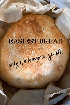 """A recipe for no-knead bread that takes only 4 ingredients and some patience. No need to """"proof"""" yeast, and takes only a fraction of the amount of yeast that a normal bread loaf requires. Delicious crusty and fluffy bread you'll want to make every day! Rock Crock Recipes, Beef Recipes, Cooking Recipes, Budget Recipes, Vegetarian Recipes Easy, Great Recipes, Healthy Recipes, No Need Bread, Cheap Meals"""