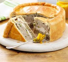 Chicken & Stuffing Picnic Pie: A Delicious King-sized Chicken Pie With Sausage, Sage and Onion. Bbc Good Food Recipes, Pie Recipes, Chicken Recipes, Cooking Recipes, Yummy Food, Curry Recipes, Recipe Chicken, Recipies, Picnic Foods
