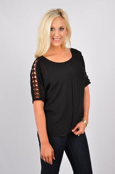 Calling all ladies for our Ladies First Top! This deeply detailed top is perfect to wear for a date night or a Sunday brunch! This short sleeve pleated woven top features crotchet sleeves. This top is made out of 100% Polyester. Hand-wash cold. Line dry.