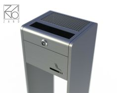 Large-capacity, modern project perfect for indoor and outdoor applications. It is also a free-standing, locked cigarette disposal unit.