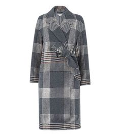 Check Magdelina Belted Coat, in Grey/Multi on Whistles Check Coat, Belted Coat, Coat Patterns, Hemline, Duster Coat, Kimono Top, Womens Fashion, Long Sleeve, How To Wear
