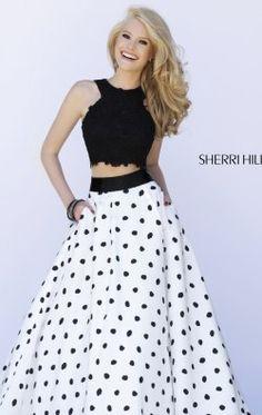 Polka Dot Two Piece Set Gown by Sherri Hill 32215