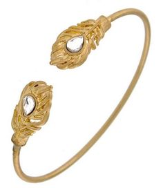 STYLISH & CLASSY Gold Feather Ended Cuff Clear Crystal BRACELET Uniklook Jewelry #Uniklook #Cuffbangle