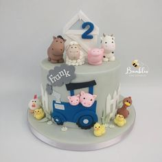 """Bumbles Cake Emporium 🐝 on Instagram: """"Who can resist this super cute farmyard cake? The lowdown: Animals using @saracinodolci Colours by @sugarflaircoloursltd Edges…"""" Barnyard Cake, Colours, Animals, Instagram, Animales, Animaux, Animal, Animais"""