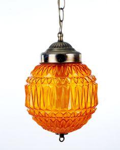Vintage Orange Glass Hanging Lamp