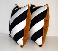 b/w chevron pillows with brown velvet