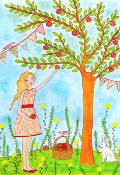Girl picking apples painting by Sascalia on Etsy