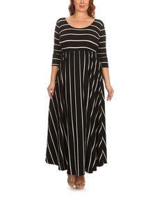 Loving this J-Mode USA Los Angeles Black Stripe Maxi Dress - Plus on #zulily! #zulilyfinds