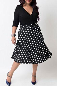 Sexy V-Neck Half Sleeve Polka Dot Spliced Dress For Women