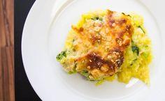 alfredo squash-4- with broccoli, spinach, mozarella, parmesan