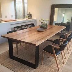 61 Eye-Catching Functional Dining Table Designs to Choose Fr.- 61 Eye-Catching Functional Dining Table Designs to Choose From room decorating room decorating ideas room decorating ideas on a budget room designs for small spaces room tab - Timber Dining Table, Dining Room Table Decor, Dining Table Design, Modern Dining Table, Dining Room Lighting, Dining Tables, Hardwood Table, Dining Set, Small Dining Room Furniture