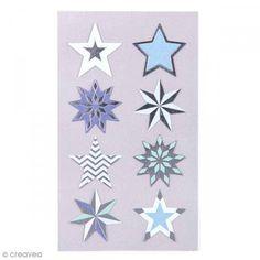 Pegatinas Estrellas azules y plateadas 28 mm - 32 pcs - Fotografía n°1
