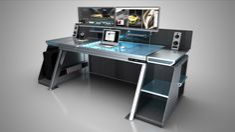 GDW _ Work Bench on Behance Source by knight_uk Gaming Desk Designs, Custom Pc Desk, Custom Computer Desk, Gaming Computer Desk, Computer Desk Setup, Gaming Room Setup, Video Game Rooms, Office Furniture Design, Home Office Setup