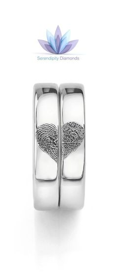 Heart fingerprint wedding rings. From Serendipity Diamonds. Capture your actual fingerprints timelessly across your wedding bands to create a beautiful heart pattern. Contact a member of our friendly team at Serendipity Diamonds to discover how we can uniquely personalise your pair of wedding rings in a wide range of styles, precious metals and width options.