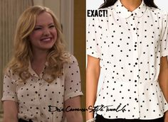 """Dove (as Liv) wore this star print top in """"Sweet 16-A-Rooney"""" & (as Maddie) wore this top in """"Shoe-A-Rooney"""" Forever 21 Star Print Peplum Top Sold Out  Available on Poshmark in size M for $15, here& in size L for $13, here"""