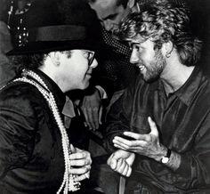 George Michael andElton John at the 30th Ivor Novello Awards atthe Grosvenor House inLondon on March 14, 1985.