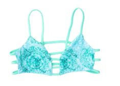 Bikini Top, Caged Bralette Bathing Suit Top, Reversible Swimsuit Top, Tidal Mandala and Mint Bralette Bikini, Bikini Swimwear, Bikinis, Swimsuit Tops, Bikini Tops, Bathing Suit Top, Designer Swimwear, Bikini Fashion, Trending Outfits