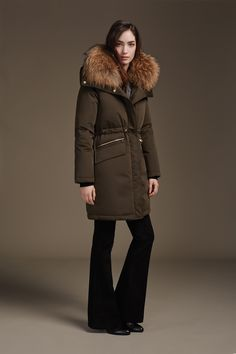 ANGELIE is a classic mid-length down coat with rounded fit. Features signature stretch lining that enhances breathability and comfort. Both the hood, and the natural fur trim are removable, making this coat highly versatile. Discover at http://www.soiakyo.com/ca/en/angelie-down-coat-with-removable-fur-trim-in-moss-for-women