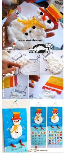 Christmas / Advent calendar and snowman card craft activity