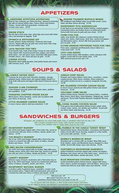 Rainforest Cafe Drink Menu Las Vegas