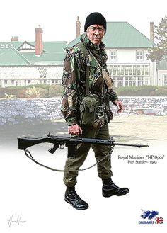 "Royal Marines ""NP8901"" Port Stanley Falkland 1982 British Royal Marines, British Armed Forces, British Army, Military Figures, Military Art, Military History, Army Uniform, Military Uniforms, Army Drawing"