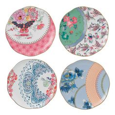 Wedgwood Harlequin Butterfly Bloom Plates, Set of 4 Plates - 091574178837 - NIB - $89.95
