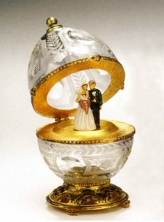 Faberge Egg: St. Petersburg Bride and Groom Crystal Egg