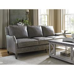 Superbe Lexington Oyster Bay Ashton Leather Misty Gray Loose Back Sofa