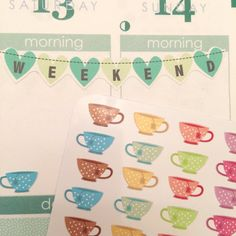 Tea Cup Planner Stickers J2 by StationStickers on Etsy