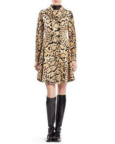 B2Q69 Gucci Leopard Print Calf Hair Coat
