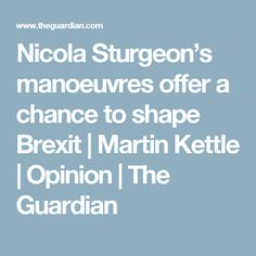 Nicola Sturgeon's manoeuvres offer a chance to shape Brexit   Martin Kettle   Opinion   The Guardian
