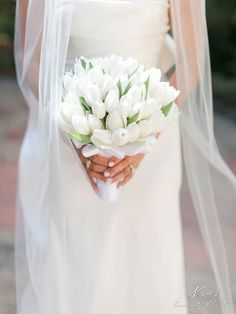 Simple white tulips for bridal bouquet = perfection