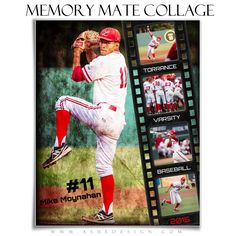 """Use our new """"Film Strip"""" - Memory Mate Collages to enhance all of your sports images. These Memory Mates will work for any sport. Just use your team colors, photos then add text and print! Baseball Tips, Baseball Pictures, Better Baseball, Photoshop For Photographers, Photoshop Photography, Photography Templates, Photography Ideas, Film Strip, Just A Game"""