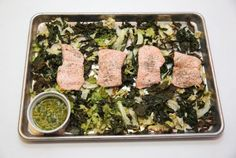 The beauty of a sheet pan supper is that you throw your protein (salmon) and vegetables (kale and cabbage) on a baking sheet and roast away. The lemon dill sauce, though, was made separately. (Vince Talotta/Toronto Star)