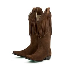 Hand-crafted from chocolate suede, these cowboy boots from Lane Boots feature a darling fringe. With pointed toes and a comfortable padded footbed, these boots are finished with a bright turquoise outsole.http://www.overstock.com/Clothing-Shoes/Lane-Boots-Womens-Chocolate-Fringe-Cowboy-Boots/6322186/product.html?CID=214117 $279.99