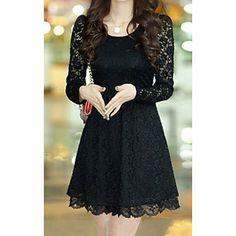 Colorparty Chiffon Lace Dress (Black)