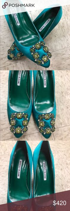 Manolo Blahnik Brand new, never been worn or touched the ground, and comes with one set of extra heel caps Manolo Blahnik Shoes Heels