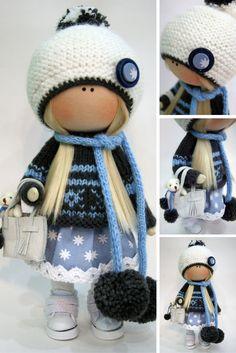 Cloth doll Winter doll Handmade doll Blue doll Tilda doll Interior doll Textile doll Nursery doll Fabric doll Decor doll Rag doll by Ksenia