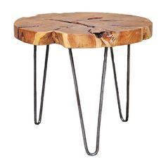 Baum Essex Round Teak Side Table (£65) ❤ liked on Polyvore