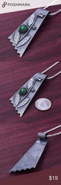 "‼️Clearance‼️Large 925 Patina & Jade Pendant Stamped ""925"".   Sterling silver is an alloy of silver containing 92.5% by mass of silver and 7.5% by mass of other metal, like copper. The sterling silver standard has a minimum millesimal fineness of 925.   All my jewelry is solid sterling silver. I do not plate.   Hand crafted in Taxco, Mexico.  Will ship within 2 days Jewelry Necklaces"