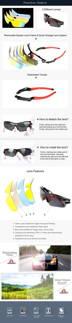 6d86f62e909 HODGSON 1019 Detachable Polarized Cycling Sunglasses Set Package with 5  different lens Bicycle Glasses