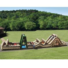 How about this at your childs next bday partyThe 85 Foot Inflatable Military Obstacle Course - awesome!!