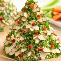 Holiday Tree-Shaped Cheese Ball is the most delicious make-ahead cheese ball recipe to adorn your holiday table. Filled with the zesty flavors of fresh herbs, basil. Christmas Appetizers, Best Appetizers, Christmas Recipes, Christmas Cookies, Christmas Cheese, Appetizer Ideas, Holiday Recipes, Ceviche, Quinoa