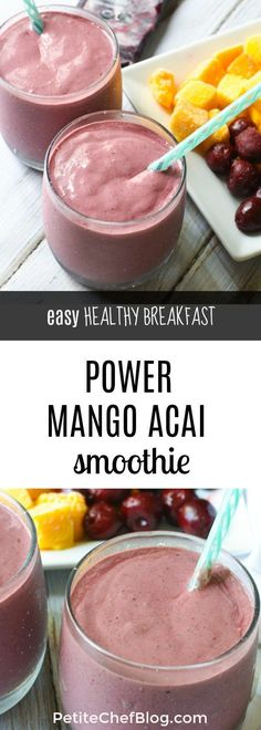 This Power Mango Acai Smoothie is easy to make and the perfect option for breakfast, lunch, or a midday snack. It's packed with power ingredients like acai (antioxidants), chia seeds (omega Blackberry Smoothie, Acai Smoothie, Smoothie Prep, Apple Smoothies, Easy Smoothies, Breakfast Smoothies, Power Smoothie, Organic Smoothies, Smoothie King
