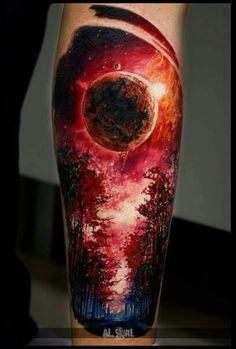 Blood moon tattoo sleeve